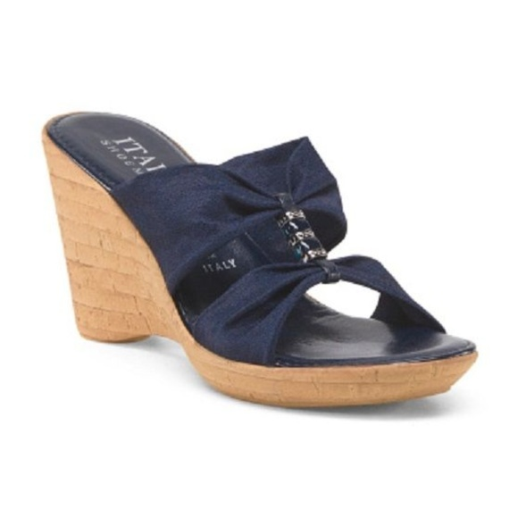 7942d285d5bb ITALIAN SHOEMAKERS Stretch Wedges Navy Blue w Bead